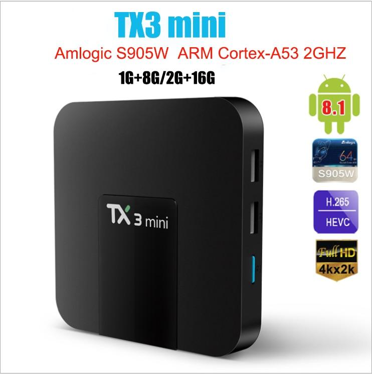 TX3 صندوق تلفاز ذكي صغير أندرويد 8.1 Amlogic S905W 1G 8G 2G 16G 4K H.265 2.4G 5G ثنائي واي فاي مجموعة مشغل وسائط تي في بوكس PK H95 T95