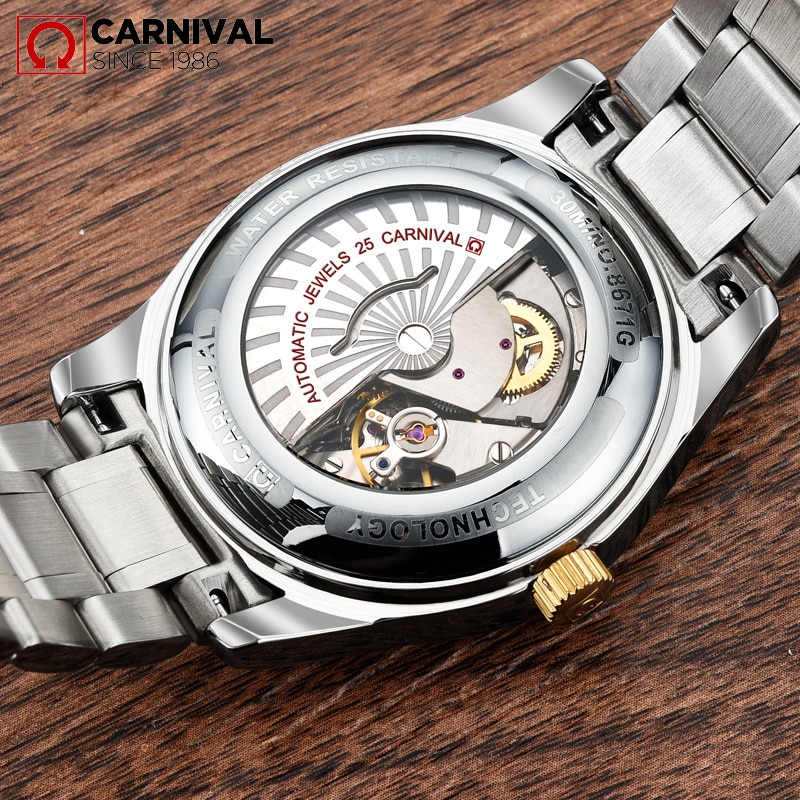 CARNIVAL New Fashion Business Watch Blue Dial Diamond Watch Waterproof Stainless Steel Band Automatic Mechanical Men's Watches enlarge