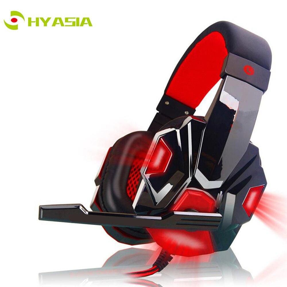 HYASIA-سماعات رأس مزودة بضوء LED ، وسماعات رأس سلكية للألعاب ، وكابل USB 3.5 مللي متر ، ومناسبة لألعاب الكمبيوتر على PS4 ، وسماعات ألعاب الكمبيوتر
