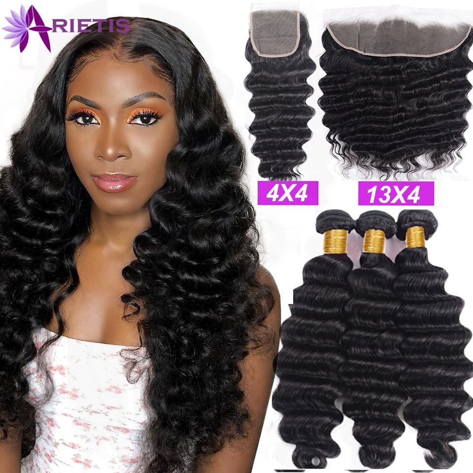 38 40 Inches Loose Deep Wave Bundles with Closure Brazilian Remy Hair Bundles with Closure 100% Human Hair Bundles with Frontal