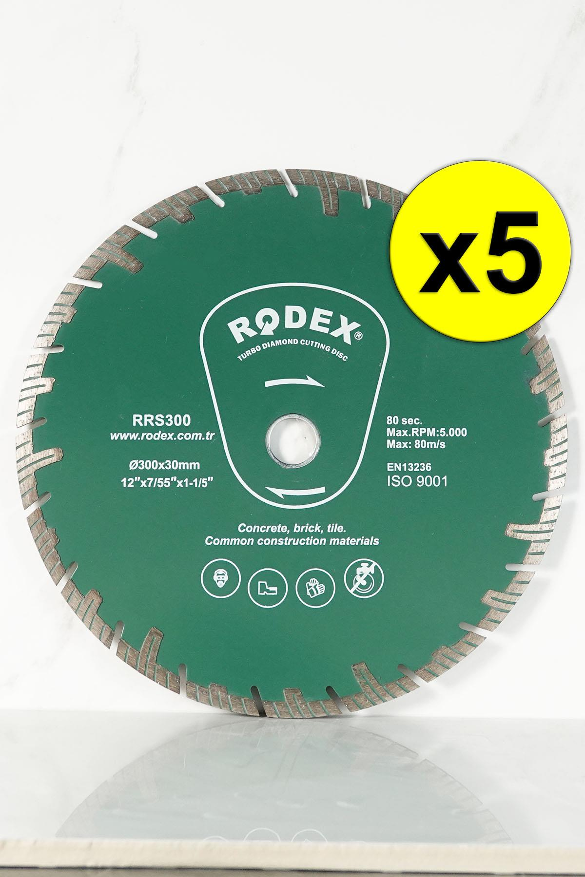 Rodex RRS300 Channel Turbo Diamond Cutting Disc for Marble, Brick, Granite, Stone 300mm 5 Pcs