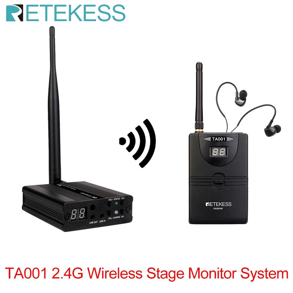 Sistema de Monitor de Palco sem Fio Receptor para Banda Transmissor + 1 Retekess Digital Estágio In-ear Monitor Sistema 1 Cantor Musciano