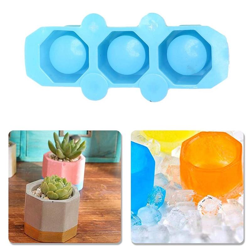Molde para maceta de 3 agujeros, molde de yeso para hormigón, molde de cerámica para arcilla, flor de Cactus, para hormigón, moldes de silicona para tazas