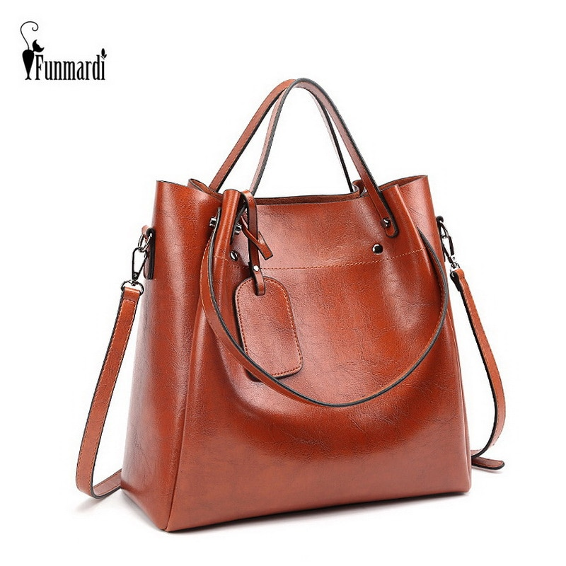 FUNMARDI Luxury Oil Wax Leather Handbags Good Quality Women Bag Vintage Shoulder Bag Simple Hand Bag Casual Totes Brand WLHB2198
