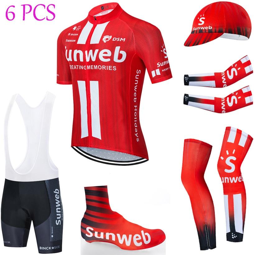 2020 sunweb ciclismo camisa usar calções de bicicleta 6 pçs terno ropa ciclismo verão secagem rápida camisa maillot mangas aquecedores