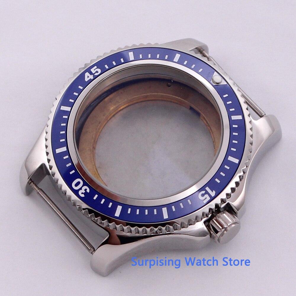 BLIGER 44mm azul cerámica giratorio bisel 316L caja de reloj de acero inoxidable ajuste ETA 2836 MIYOTA 8215 821A DG 2813 movimiento