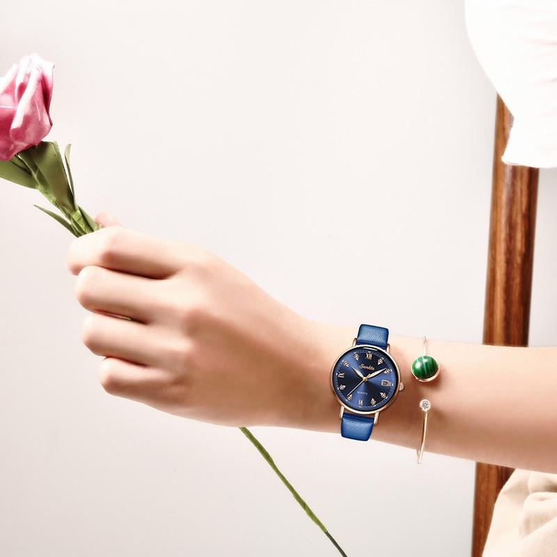 SUNKTA 2020 New Watch Women Watches Ladies Creative Leather Womens Bracelet Watches Female Waterproof Clock Relogio Feminino+Box enlarge