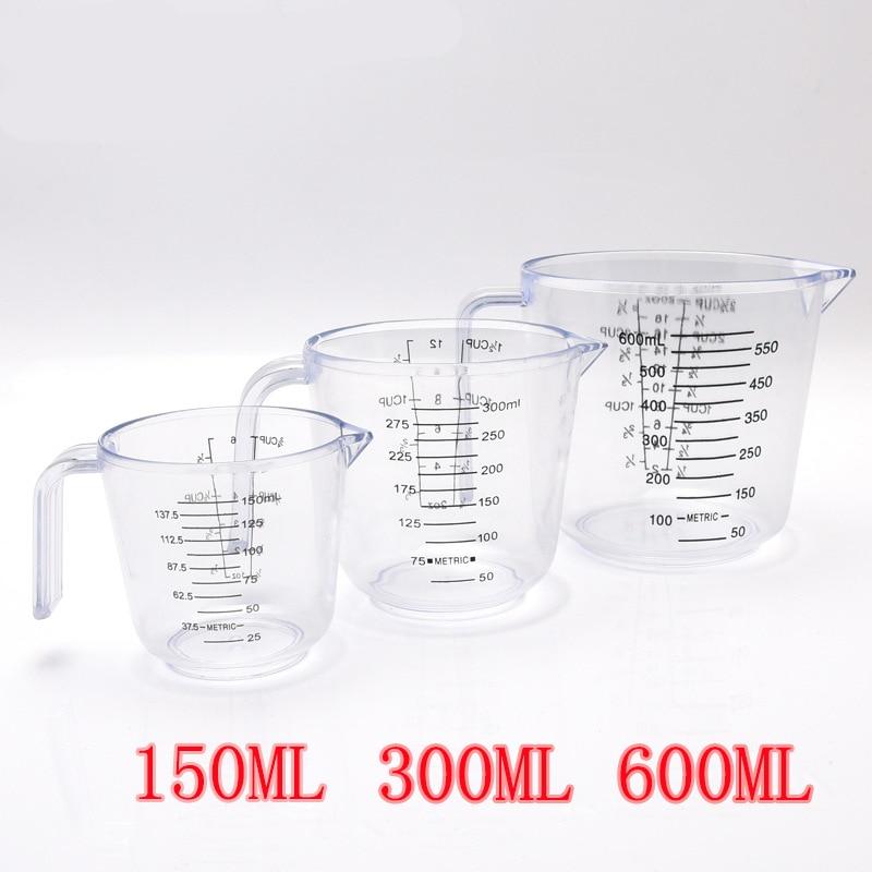 2020 New 150/300/600ml High Quality Plastic Measuring Cup Clear Scale Show Transparent Mug Pour Spout 3sizes Measuring Device