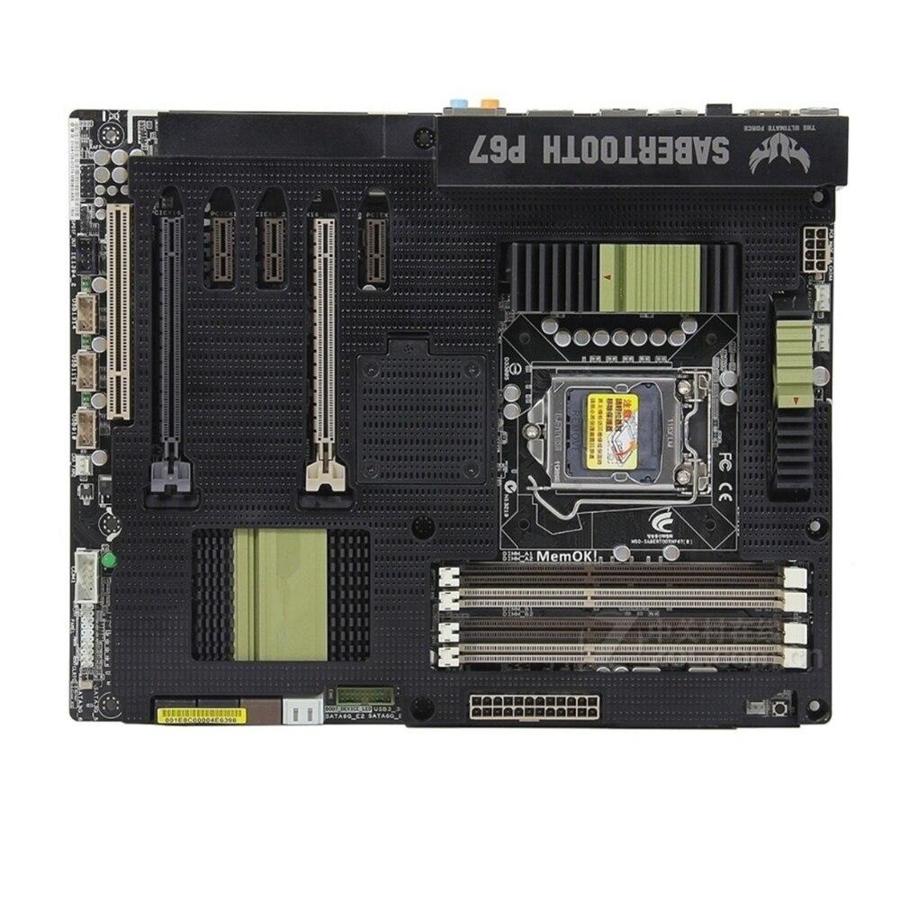 Placa base de escritorio para ASUS SaberTooth P67, P67, GA 1155, DDR3,...