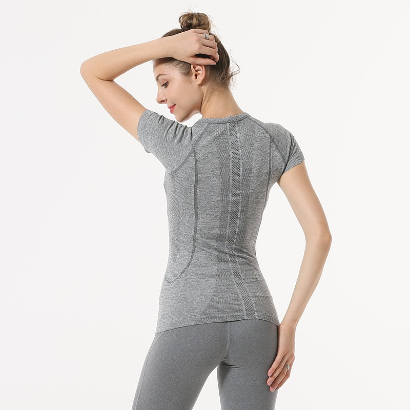 NWT 2021 امرأة قصيرة الأكمام قميص مرونة اليوغا شبكة الرياضة تي شيرت اللياقة البدنية المرأة رياضة الجري الأسود القمم المحملة شحن مجاني