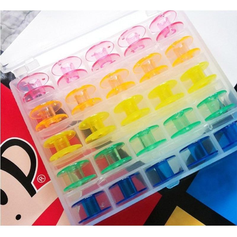 Caja de bobina de 25 uds., organizador de almacenamiento, soporte de bobina Multicolor, caja de plástico transparente para máquina de coser, cajas de contenedor