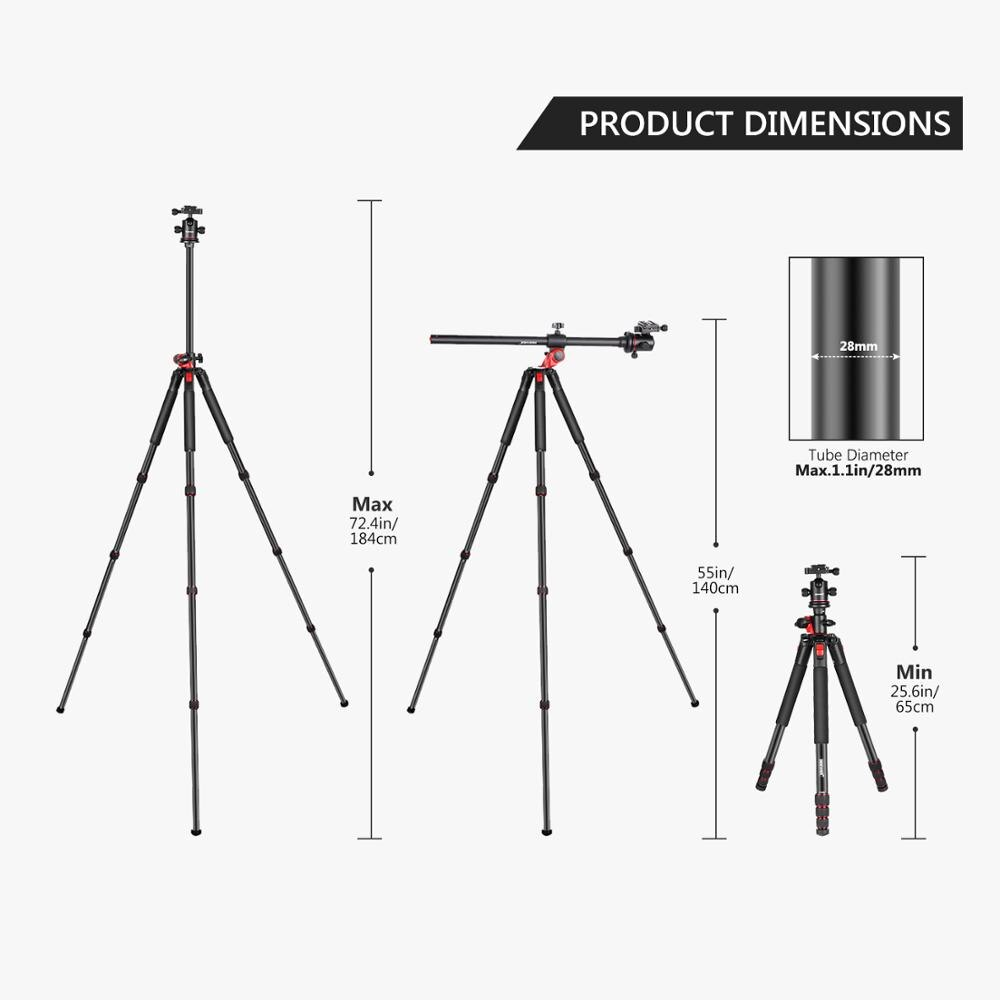 Neewer 184cm Aluminum Camera Tripod Monopod, 360 Degree Rotatable Center Column for DSLR Camera Video Camcorder Travel and Work enlarge