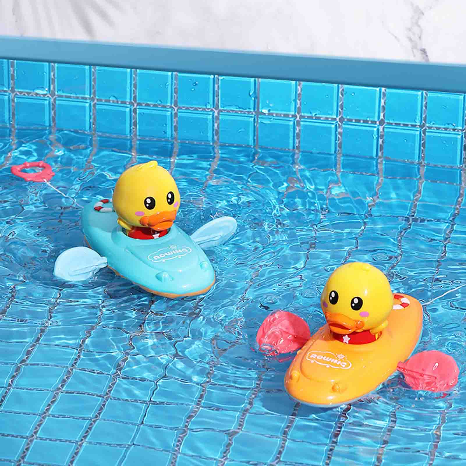 Baby Swimming Pool Shower Bath Toys Cute Rowing Duck Wind Up Chain Bathing Clockwork Bathroom Game Water Beach Toys For Kids baby bath toys duck clockwork educational toys swim bathing kids water swimming chain shower toy gift for newborn baby wholesale