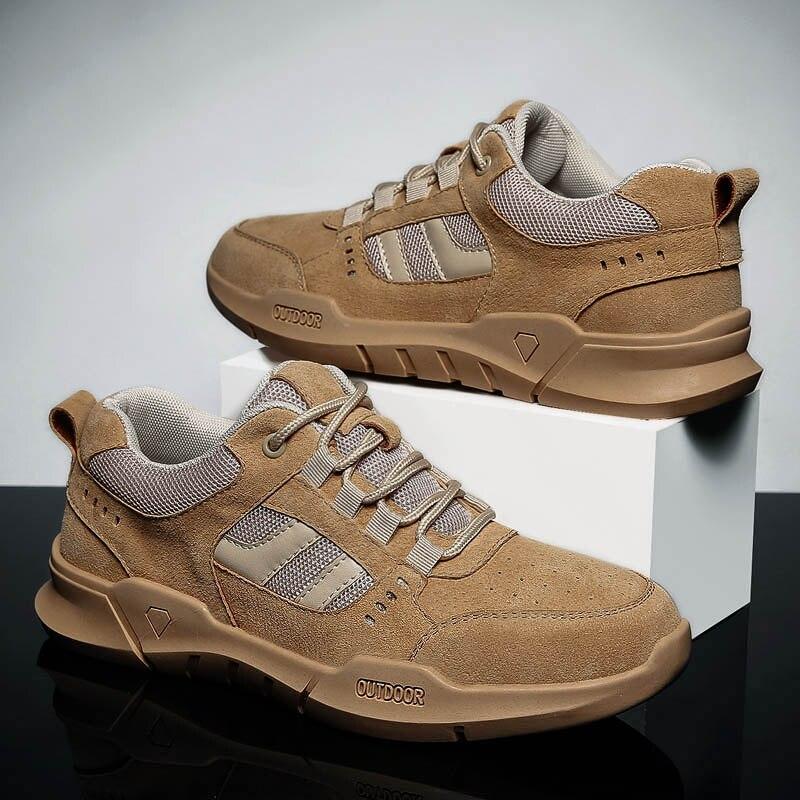VastWave خنزير الجلد جلد طبيعي رجالي حذاء كاجوال ارتداء مقاومة المطاط رجل الترفيه أحذية من الجلد الفاخرة للذكور حذاء قماش
