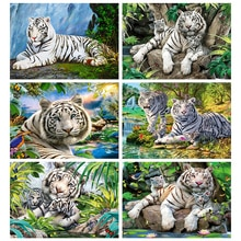 Evershine 5D diamant peinture tigre image de strass diamant broderie animaux plein carré mosaïque décoration de la maison