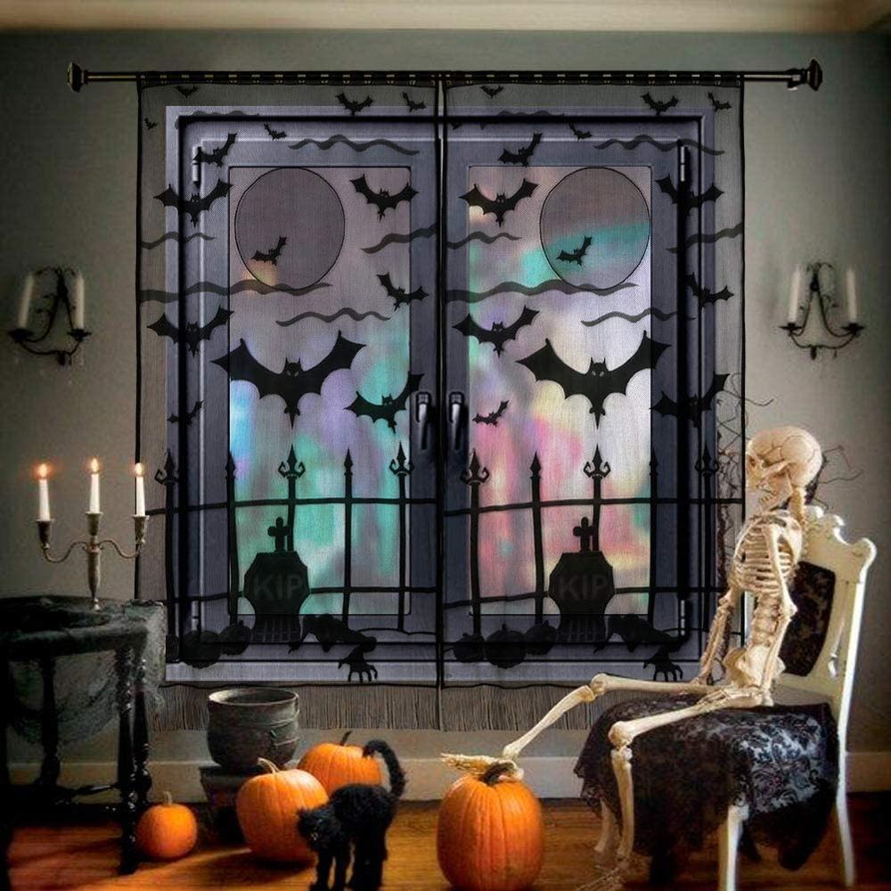 Хэллоуин Кружева дверь занавеска Хэллоуин дверь/окно украшения летучая мышь паутина деко Косплей вечерние принадлежности
