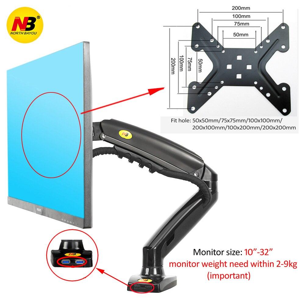 """NB nuevo F80-A1 17-32 """"Monitor brazo resorte Gas movimiento completo LCD TV montaje 2-9kg ergonómica doble brazo abrazadera 2pc USB3.0"""