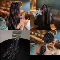 shiny rhinestone tassel headbands for women fashion crystal hairband temperament hanging hair accessories bridal wedding jewelry
