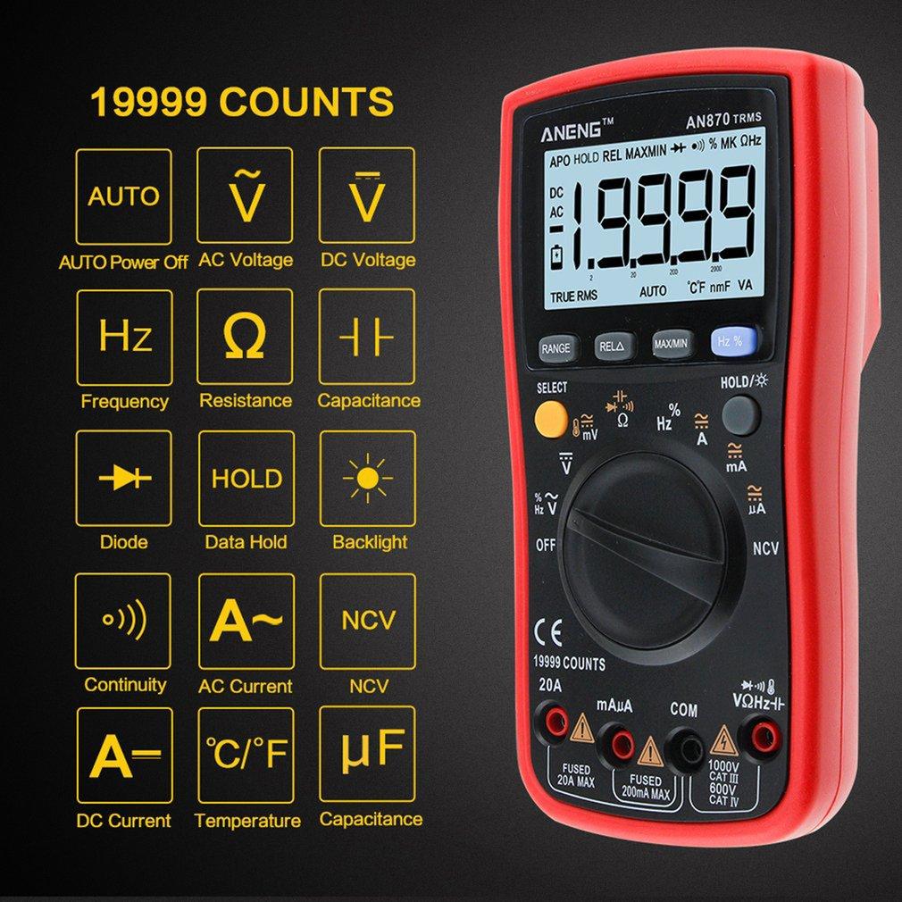 Alta Precisão Inteligente Multímetro Digital Automático Multi-função Eletricista Display Aneng An870
