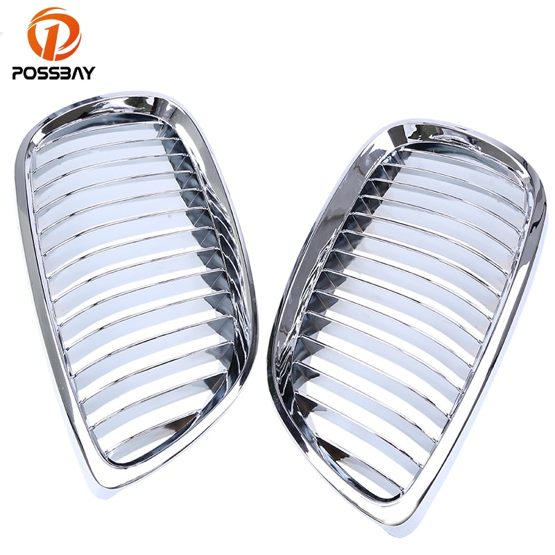 POSSBAY Chrome Silver Car Center Grilles Grill for BMW 3-Series E92 323i/325d/320Xd Coupe 2006 2007 2008 2009 2010 Pre-facelift
