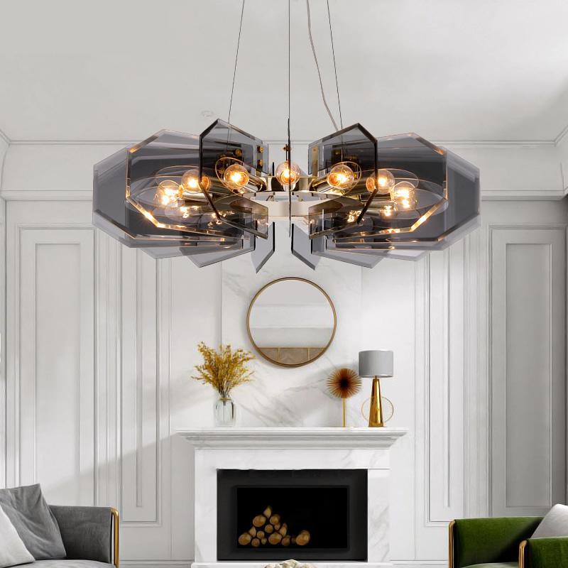 Lámpara colgante de sala de estar moderna barra de luces LED luminaria de lujo restaurante dormitorio de techo alto lámpara de hoja de vidrio negro