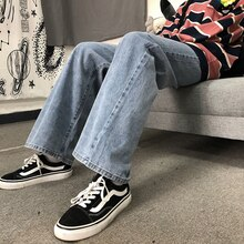 2021 Autumn Winter New Korean Harajuku Style Street Distressed Loose Straight Wide Leg Jeans Men and