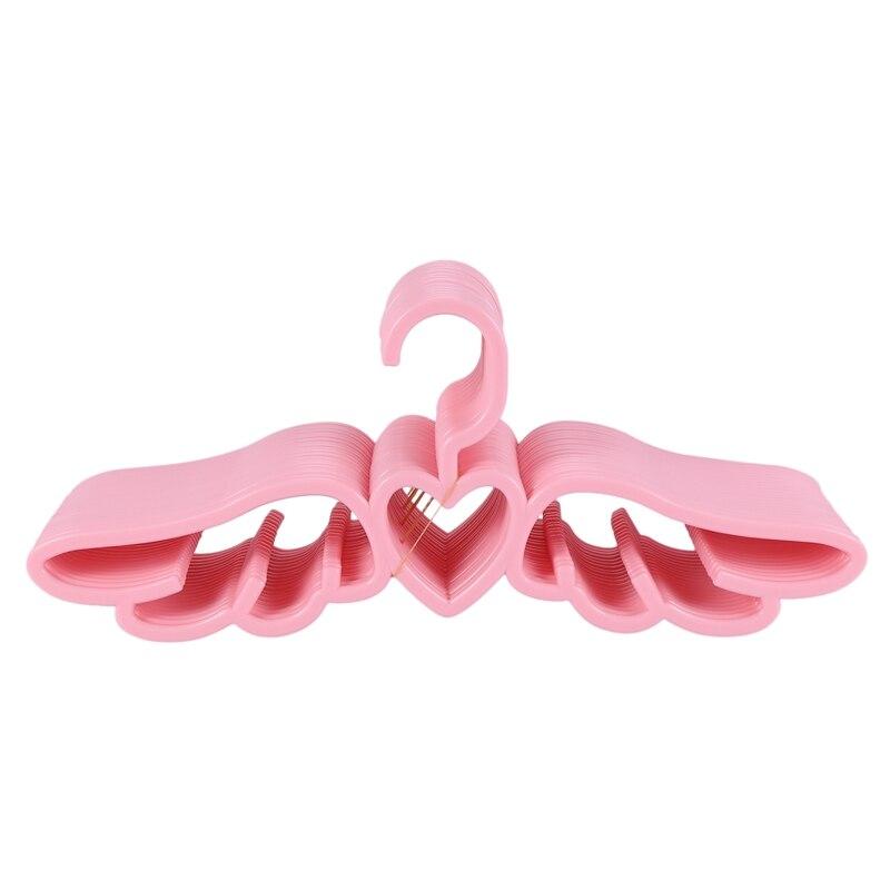 20 قطعة تصميم جديد يطير الملاك الملابس البلاستيكية شماعة قمصان ، لطيف جميلة الوردي محب القلب وشاح الملابس الداخلية شماعات رف