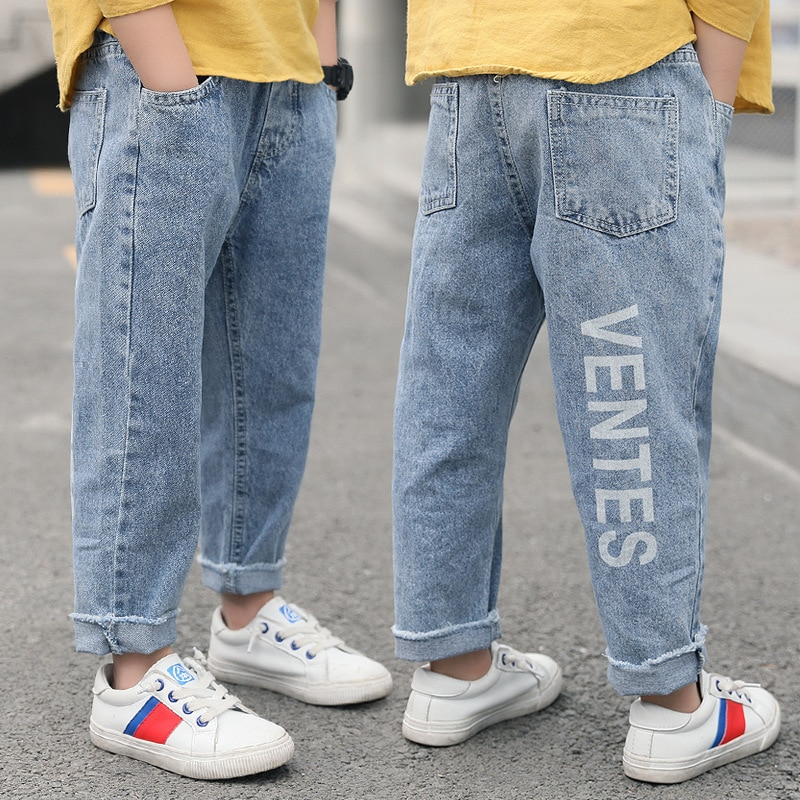 2020 niños jeans nuevos moda carta niños Pantalones negro azul niños ropa Pantalones