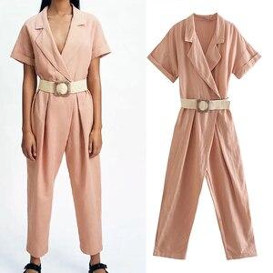 ZA2021 spring and summer new women's pink jumpsuit Korean version tooling fashion suit collar high waist slim slimming belt belt