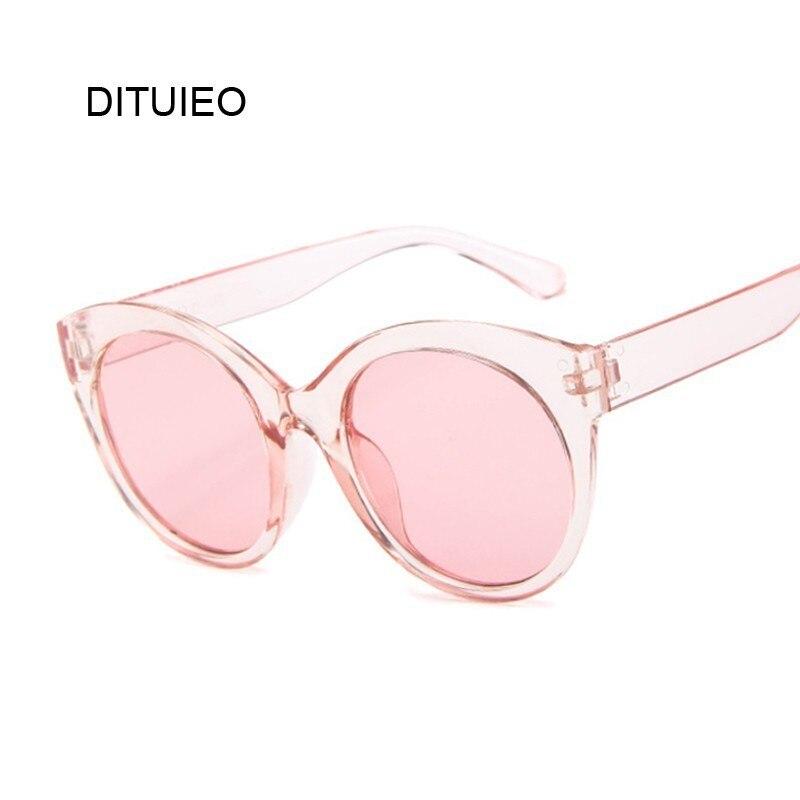 Thick Frame Cat Eye Sunglasses Women Ladies Fashion Brand Designer Mirror Lens Cateye Pink Black White Female Shades Sun Glasses
