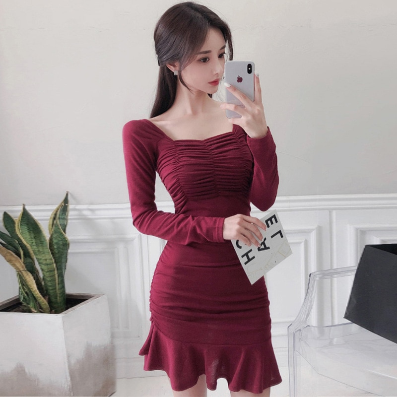 2021 Spring New Fashion Temperament Fishtail Slim Hip Sexy Dress