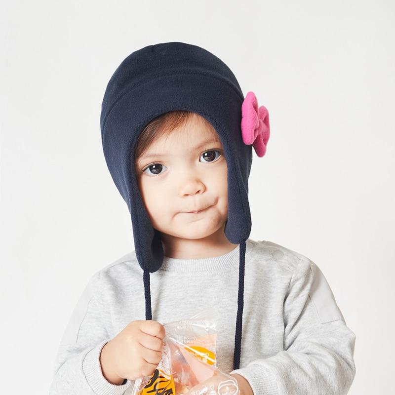 Шапка и перчатки для девочек, зимняя шапка-ушанка, шапка-ушанка, детская флисовая Осенняя теплая шапка с бантом, аксессуары для катания на лы...