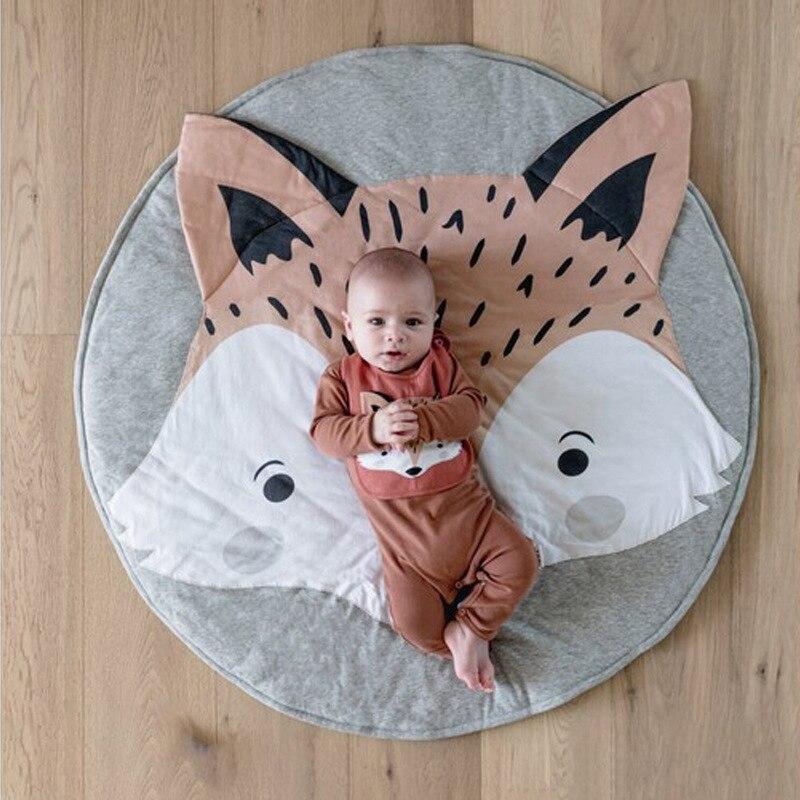 Esteras de juego para niños de 90CM, alfombra redonda, alfombra, Alfombra de algodón para gatear con Zorro, manta, alfombra para el suelo, para decoración de habitación de niños, regalos para bebé