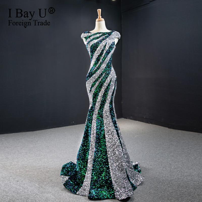 فستان سهرة طويل ومثير على شكل حورية البحر ، مقاس كبير ، نمط أفريقي ، ترتر ، ترتر ، لامع ، فستان رسمي ، 2020
