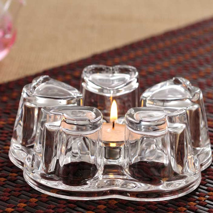 Portavelas de Cristal con forma de corazón para decoración del hogar, contenedor de lujo para boda, DD60ZT