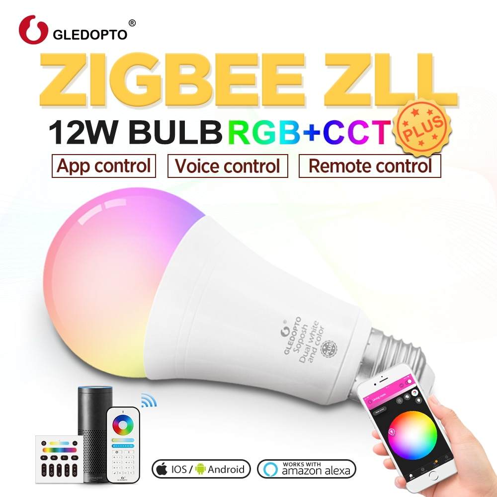 Gledopto White and Color E27 12W LED smart bulb Zigbee compatible gateway ,voice activated with Alexa, 6-zone remote