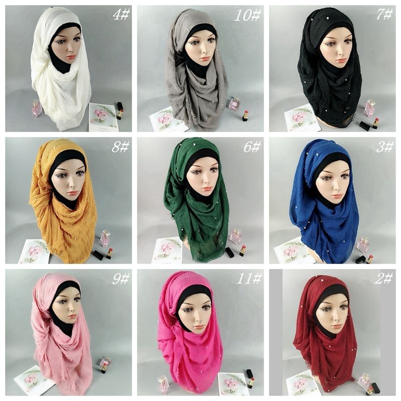 Shawl Muslim Hijab Wrap Head Beads Pearl Women Ladies Plain Crinkle Cotton Scarf TJM9142
