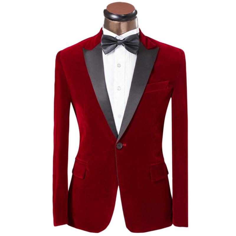 Handsome Velveteen Groomsmen Peak Lapel Groom Tuxedos  Men Suits Wedding/Prom/Dinner Best Blazer(Jacket+Pants+Tie) 077