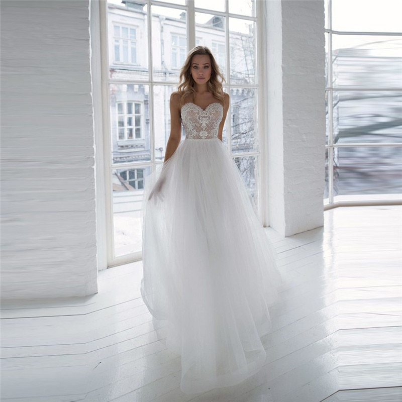 Illusion Neck Lace Top Wedding Dress Tulle V-Shape Backless Sexy Bridal Gowns 2021 New Fashionable Sleeveless Bride Dress fashionable v neck sleeveless crisscross women s flare dress