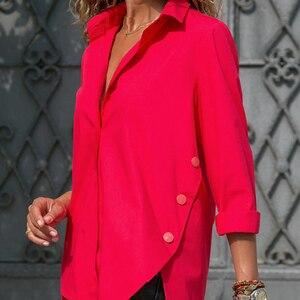 Plus Size 5XL Irregular Women's Office Shirt White Long Sleeve Turn-down Collar Female Blouse 2021 Spring Summer Lady Shirts Top
