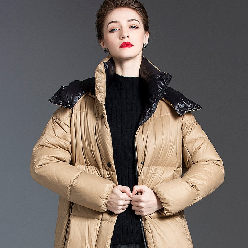 Women down coats luxury autumn winter warm fashion white duck down Jackets Female lady long puffer hooded casual yellow thicken