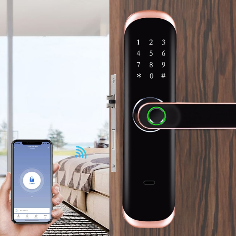 Electronic Fingerprint Lock WiFi Touch Screen Password Card Smart Door Lock with Mechanical Key