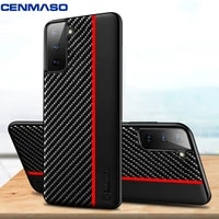 for samsung galaxy s20 s21 plus note 20 ultra case cenmaso original carbon fiber texture leather plastic protection back cover