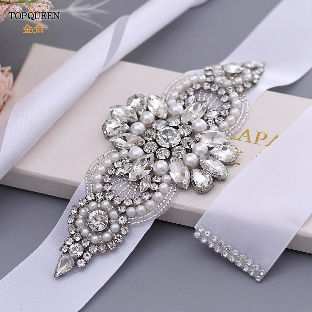 TOPQUEEN longue strass ceinture de mariée robe en argent femmes strass ceinture brillant ceinture de mariée pour les filles noir ceinture de mariée S05B