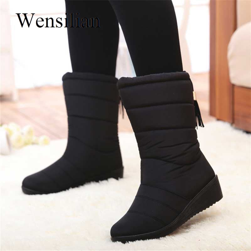 Winter Women Boots Mid-Calf Down Boots High Bota Waterproof Ladies Snow Winter Shoes Woman Plush Insole Botas Mujer Invierno snow boots women shoes 2020 warm plush waterproof casual shoes woman mid calf winter platform shoes women boots zapatos de mujer