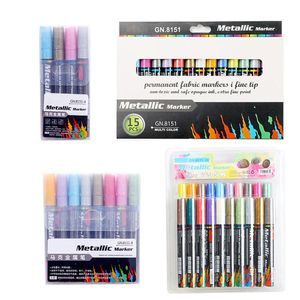 4/8/15/20 Colors Acrylic Paint Marker Pen Set for DIY Album Glass Ceramic Rock Wood Fabric Canvas Painting Detailed Marking