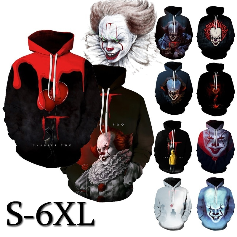 Pennywise filme 3d hoodie unisex hip hop horror outono streetwear hoodie halloween casais roupas it 3d hoodie plus size (S-6XL)