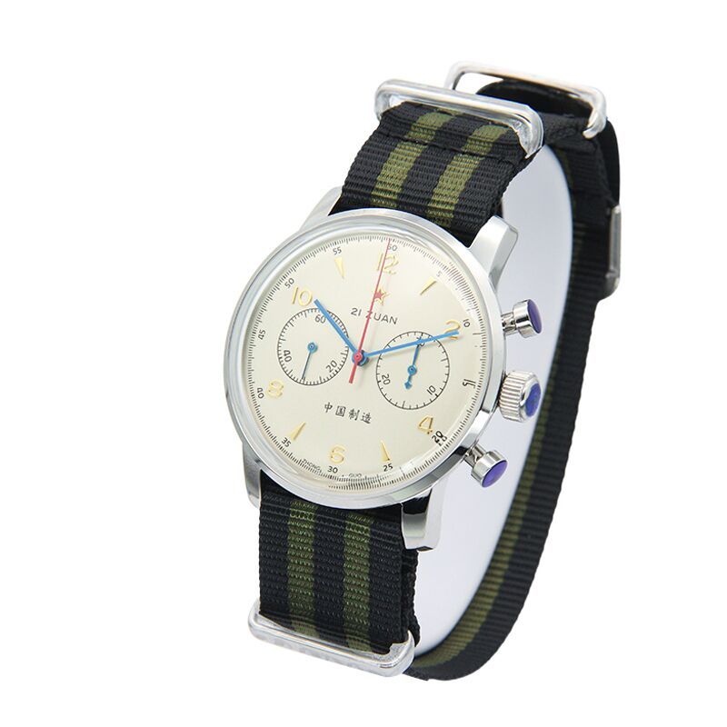 Véritable Redstar nouvelle ère série de créateurs chronographe pilote montre mouvement hommes classique montre cleastal arc-en-ciel bracelet en nylon 6806G