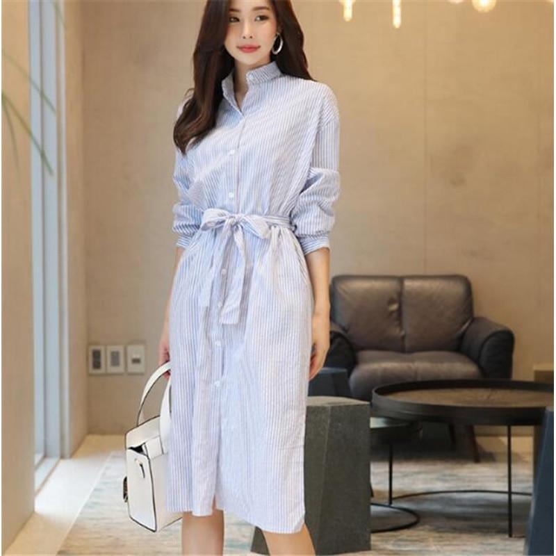 2020 mujeres vestidos primavera otoño elegante Casual rayas camisa vestido de algodón y lino de encaje Up Single Breated CL365