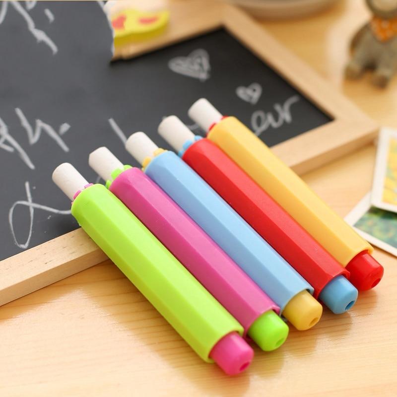 5 uds nuevo Color caramelo al azar titular de tiza no tóxico tiza Clip limpio enseñanza Hold para maestro niños papelería
